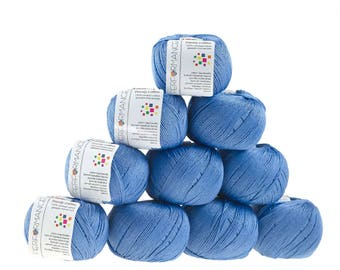 10 x 50g knitted yarn Dainty cotton, #93 grey-blue