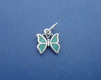 Blue BUTTERFLY Charm .925 Sterling Silver, MINIATURE Small - elp641