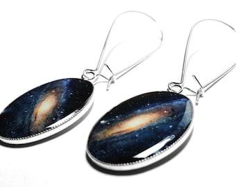 Galaxy Earrings, Space Earrings, Galaxy Jewelry, Resin Jewelry, Andromeda Galaxy, Resin Earrings, Dangle Earrings, Handmade Jewelry, Stars