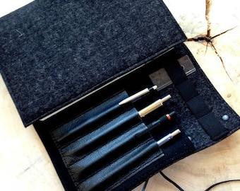 Feutre de laine pour ordinateur portable de calendrier Organisateur & cuir, noir