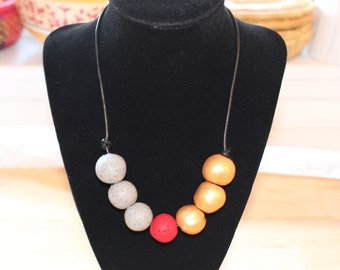 Gold red necklace with grey, Eco Friendly handmade clay beads
