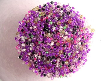 20g seed beads neon fuchsia mixed 8/0 (3mm)