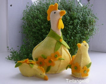 Flora Hen and her Chicks - PDF pattern - instand download