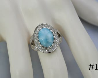 Larimar AAA 100% Natural .925 Sterling Silver Select your Larimar Ring Size 7.5