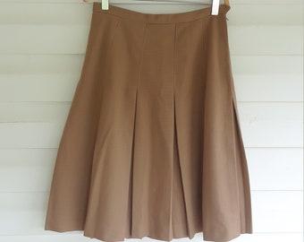 1960s Pleated Skirt Size 14 School girl skirt Vintage Knee length Olive Circle skirt 1960s skater skirt plus size vintage 1950s skirt