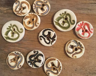 FREE SHIPPING Set of 11 Handmade Ceramic Buttons - Om