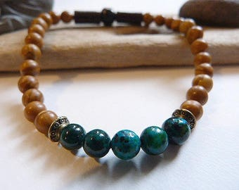 Mens bracelet, ethnic and Celtic green African turquoise and Jasper wood