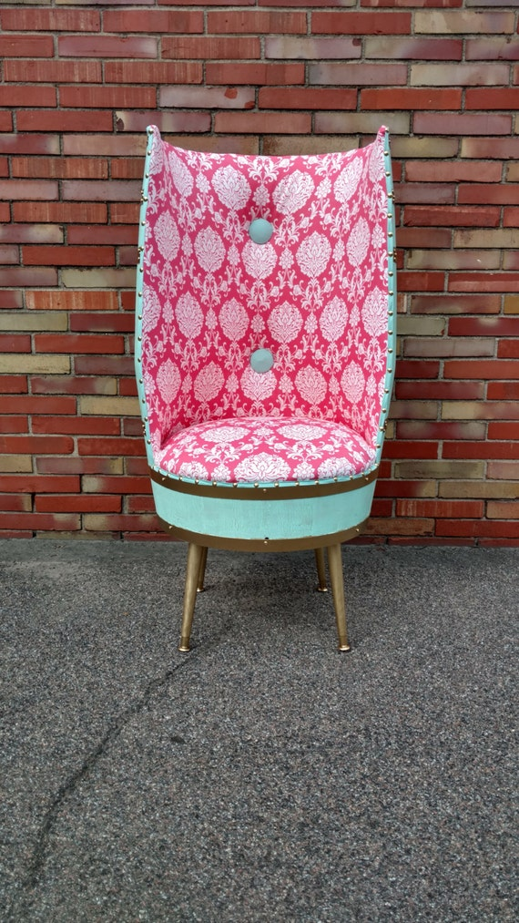 Mint and Coral Barrel Accent Chair
