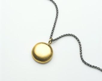 Large gold vermeil pendant, gold pendant, simple gold pendant