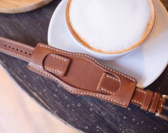 Custom made watch strap, Bund strap, hand stitch, vegetable tanned leather, Nature, leather watch strap 18mm ~22mm