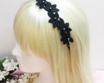 Black Headband, Black Lace Bridal Headband, Lace Headband, Bridal Headband, Wedding Headband, Bridesmaid Headband, bridesmaid headpiece
