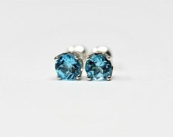 Swiss Blue Topaz November Birthstone 5 mm Stud Earrings