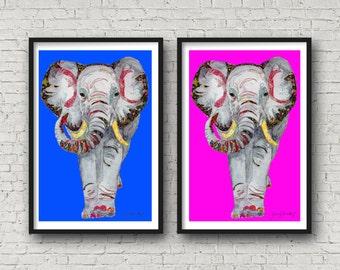 Elephant - Funny Elephant - Grey Elephant - Print