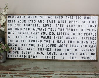 Remember When You Go Into the World, Do Wonderful Things Distressed Wood Living Room Wall Art, Inspirational Graduation Farmhouse Decor Sign