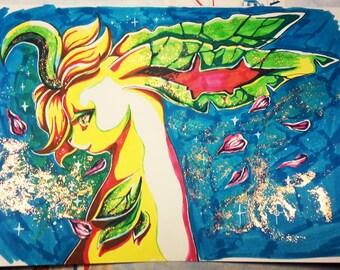 Original Drawing - Glittery Leafeon