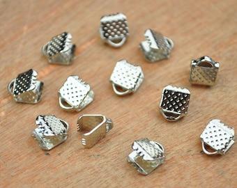 50pc White k Ribbon Crimp/Crimp Beads/Ribbon Fastener Crimp Beads/White K Leather Fastener Clasps End Caps /crimp ends/Ribbon Crimp End--6mm
