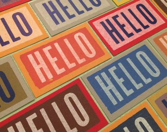 20 HELLO note cards Tiny gift tags Letterpress Wood type Assorted colors Lunch box notes Hello cards Wedding table cards Thinking of you