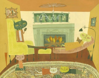 The cat family relaxes.  Limited edition print by Matte Stephens.