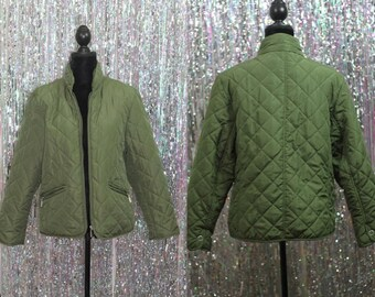 90's Jane Ashley Green Quilted Jacket *New (L)