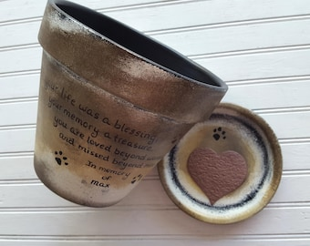 Dog Memorial - Cat Memorial - Pet Memorial Gift - Painted Flower Pot - Large Planter - Pet Loss Gift