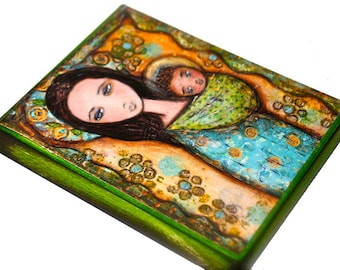 Mother -  Giclee print mounted on Wood (4 x 5 inches) Folk Art  by FLOR LARIOS