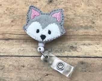 Husky Badge Reel - Badge Clip - ID holder - Retractable Badge Holder - Nursing Name Badge - ID Badge Reel - Retractable badge clip - Dog