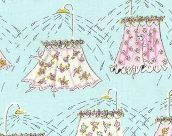 Play Date For Your Shower Curtain Blue - Quilting Cotton - Dear Stella - HALF YARD