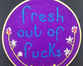 Swear word embroidery
