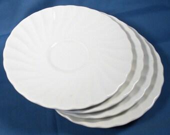Vintage Ceramic White Saucer Plates - Set of Four