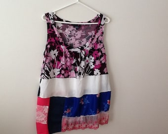 Upcycled Clothing Refashioned Shabby Style Floral Boho Country Cottage Chic Romantic Repurposed Tank Top Tunic. Women's Size Large to Xl.