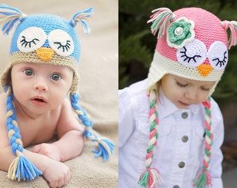 Sleeping Owl Crochet Hat Pattern (PDF FILE)