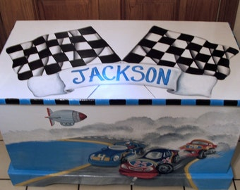 RACE CAR Toy Box, Toy Chest Custom Designed, kids room decor, personalized, furniture decor, art and decor
