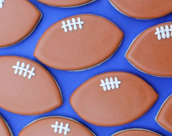 Football Decorated Sugar Cookies - American Football Sugar Cookies