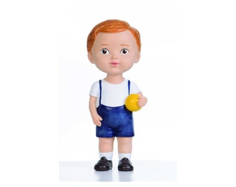 Brown Hair Boy with Ball Collectible Inspired by Vintage Style Doll Home Decor