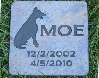 Dog Memorials, Memorial Gifts, Gifts, Pet Loss, Sympathy, Personalized, Pet Memorial Stone, Doberman, Grave Marker Garden Stones 6 x 6 Slate