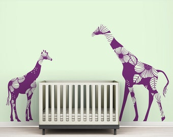 """Violet """"Mom and Baby Floral Giraffes"""" Wall Decal"""