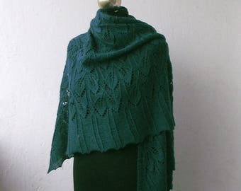 Dark Green hand knitted merino shawl with with leaves pattern