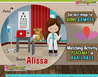 Girl Doctor Plate and Bowl Set - Personalized Plastic Children Plate Cereal Bowl - Choose TRAITS color - Personalized Future Doctor Plate