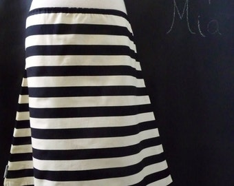 A-line SKIRT - Riley Blake - Black and Cream Stripe - Made in ANY Size - Boutique Mia