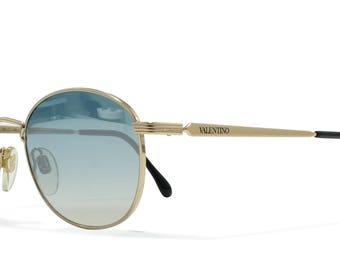 Valentino V519 903 Gold Vintage Sunglasses Oval For Men
