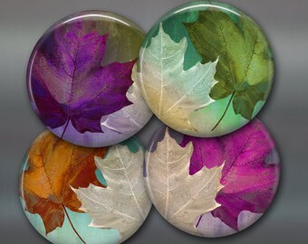 """3.5"""" fall leaves fridge magnets, set of 4 magnets, kitchen decor, colourful maple leaves, autumn decor large magnets"""