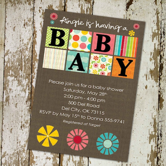 rustic baby girl shower invitation floral chic invite kraft paper rustic baby blocks baby shower diaper wipe brunch gay 137 Katiedid Designs