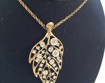 On Sale Large Leaf Necklace Pendant Rhinestone gift for Mom gift for her