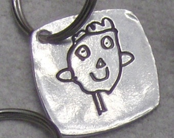 For Father's Day - My Daddy-Your Child's Drawing- Daddy Key Fob  or Pendant -Solid Silver- made to order-click to see more images