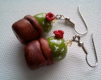 Cactus earrings | miniature | plant | green dangle | clay jewelry | handmade | flower | nature inspired