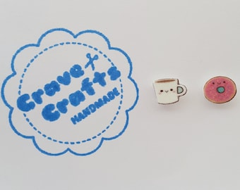 Tea and Donut on Silver Plated Stud Earrings