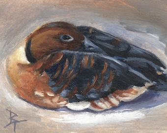 Wandering Whistling Duck aceo Original 2.5x3.5 inch Oil Painting