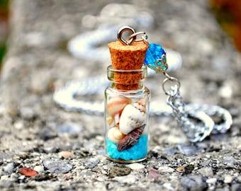 Seashell necklace, Beach necklace, Mini Bottle necklace, mini terrarium, Sea Vial necklace, Summer necklace, Nature jewelry, Sand bottle