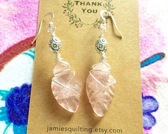 Natural Rose Quartz Carved Leaf Tribal Gemstone Earrings Wedding Bridal  Everyday Jewelry Birthday Gift