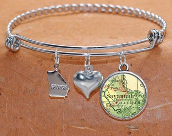 Savannah Georgia Map Charm Bracelet State of GA Bangle Cuff Bracelet Vintage Map Jewelry Stainless Steel Bracelet Gifts For Her